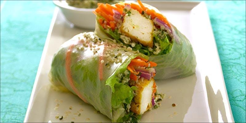 Tofu Rice Wraps With Hemp-Garlic Sauce