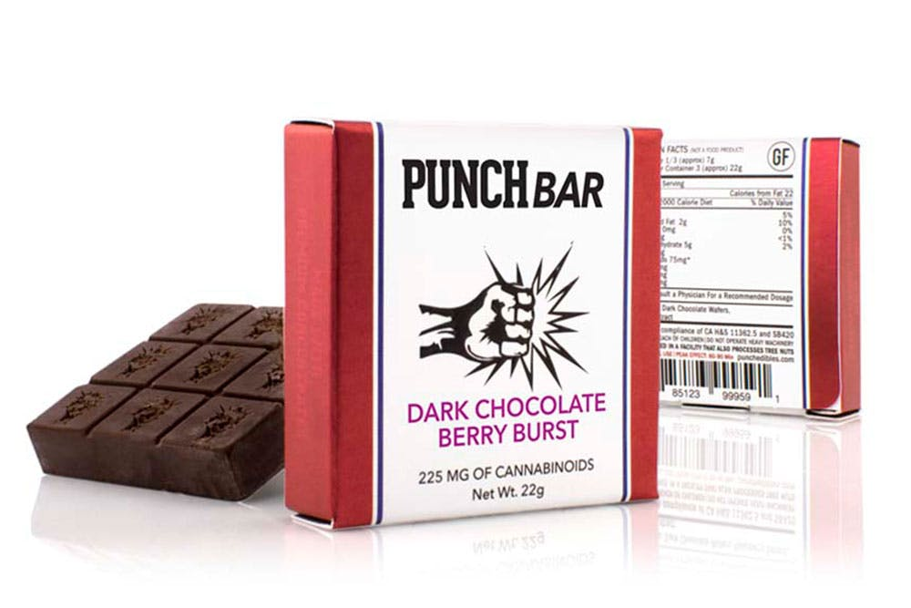 Product shot of Punch Edibles Punch Bar which is one of the strongest cannabis products on the planet.