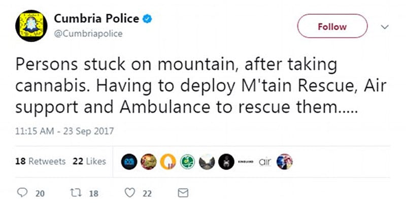 rescue Hikers Require Rescue After Getting So Stoned They Get Stuck On Mountain