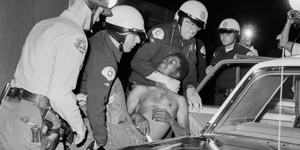 frican American Rioter Being Forcefully Arrest