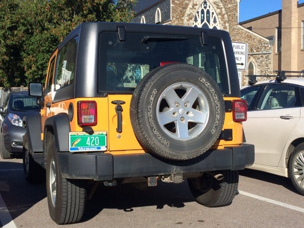 Former Vermont Attorney General Bill Sorrell Jeep Has A 420 License Plate