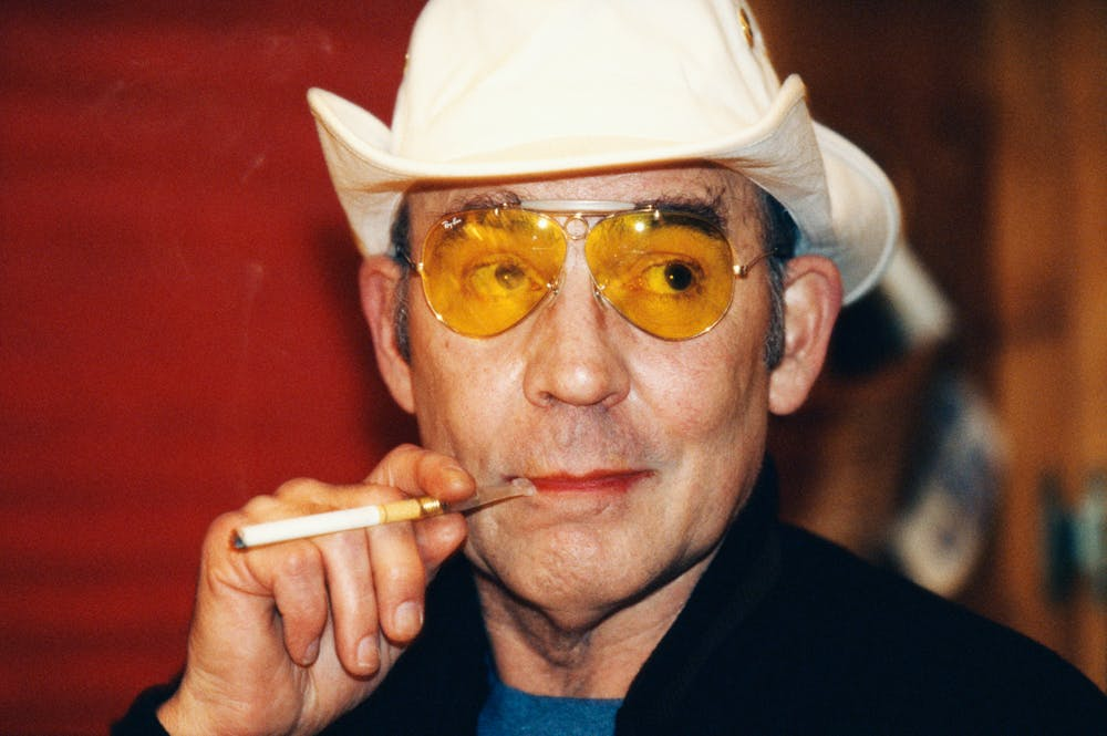 Hunter S. Thompson with cigarette in hand