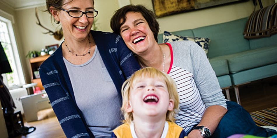 Jody Hall, of The Goodship, lith her wife and child.