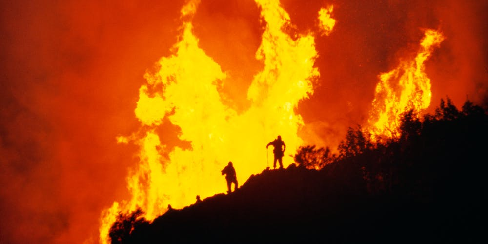 Firefighters and flames, Big Sur, California