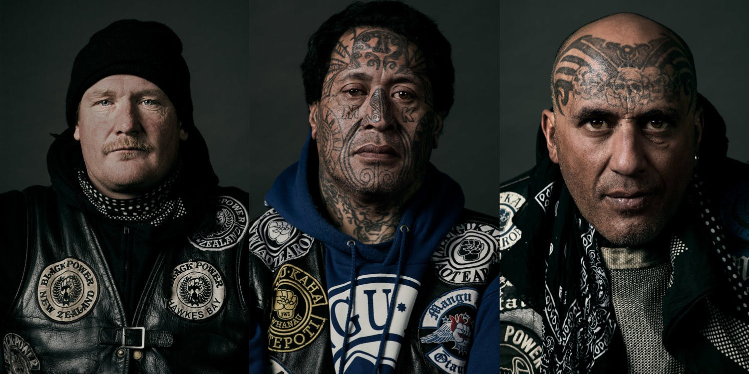 Portraits of The Black Power Gang from New Zealand