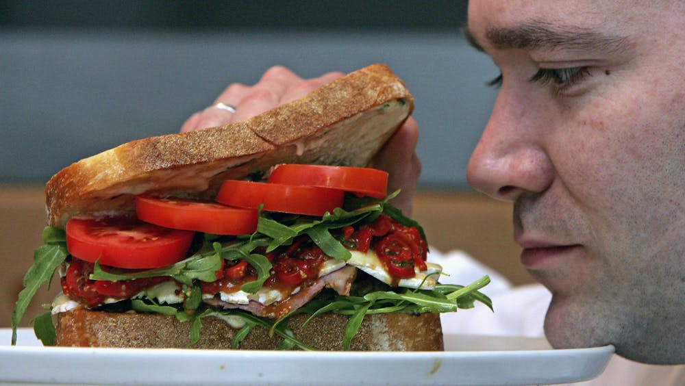 Man looks at giant delicious sandwich