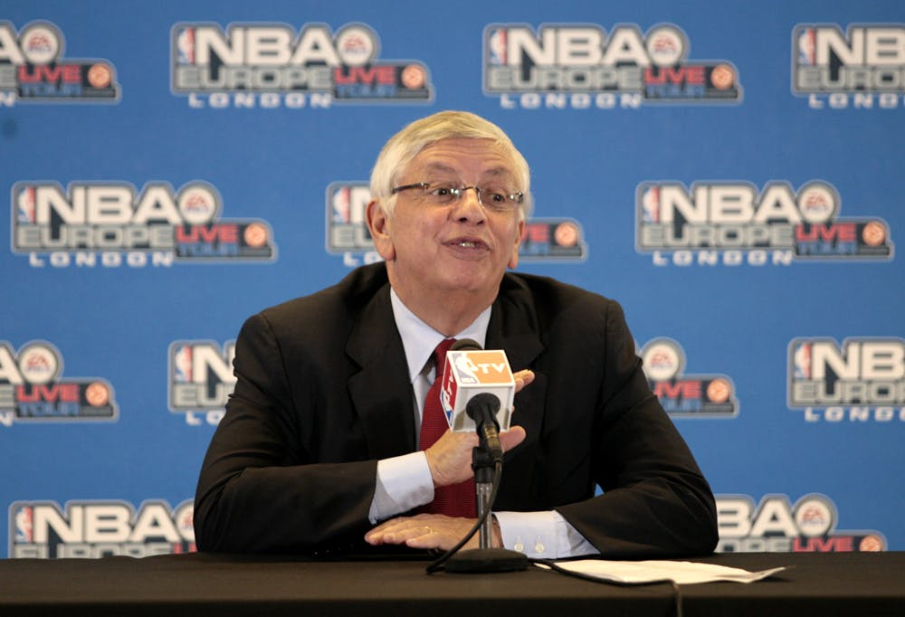 David Stern, Commissioner of the NBA speaks at a press conference