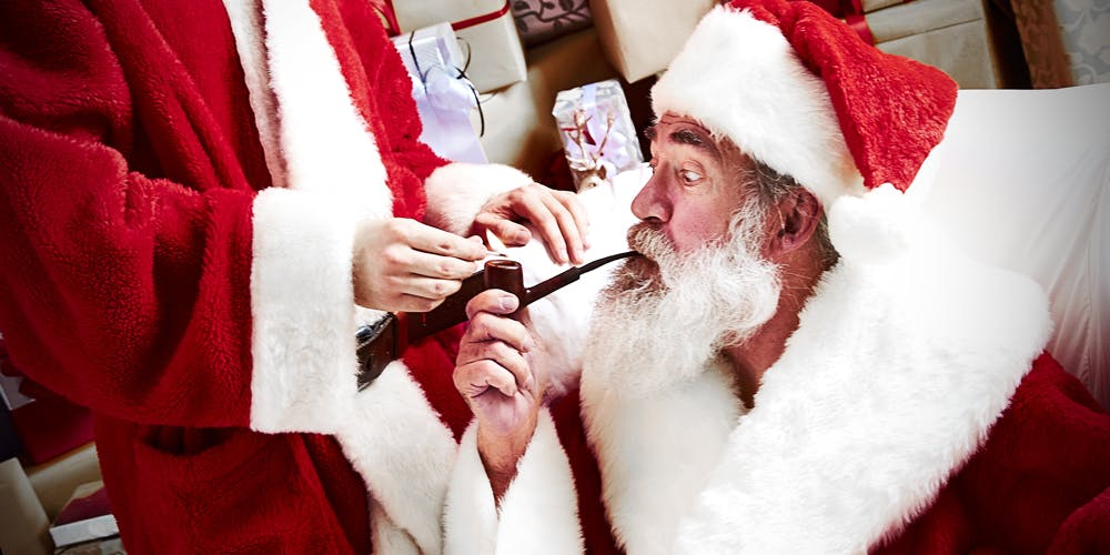 Santa smoking a pipe