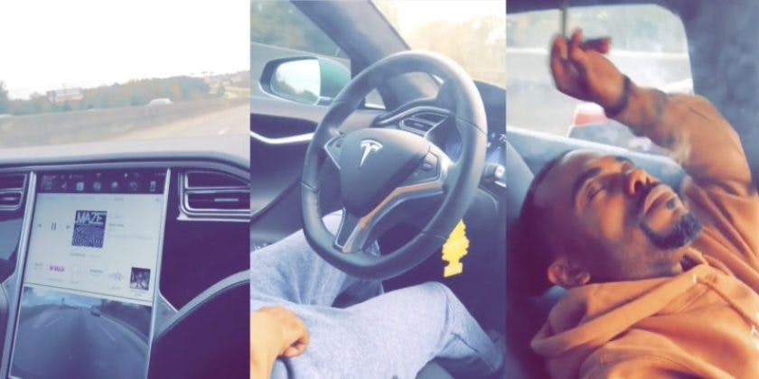 Guy Puts Tesla On Autopilot, Leans Back, Closes His Eyes And Lights A Fat Blunt