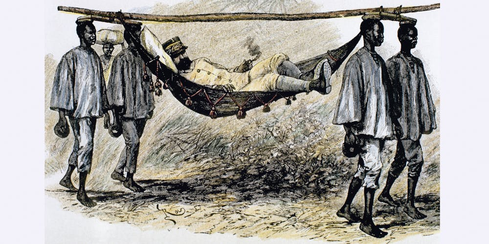 19th century, European colonizer carried in a hammock by four African porters,. This is the History of Africa, Colonialism,