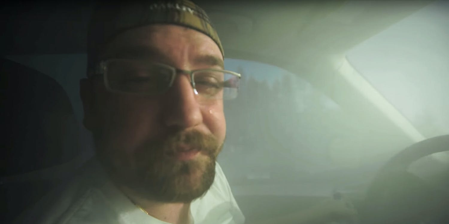 Man sheds tear in hot boxed car