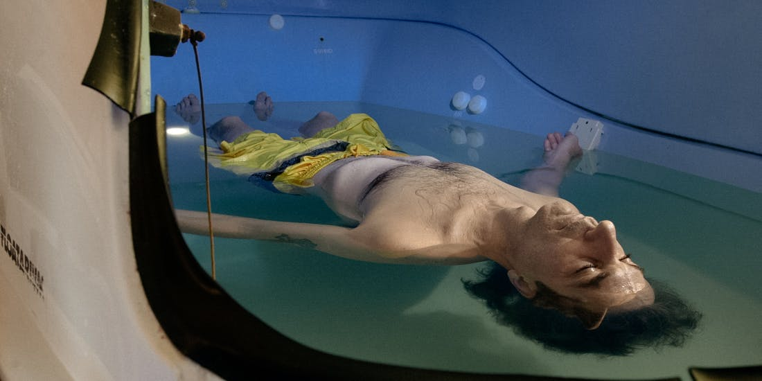 TRANQUILITYFLOAT-January 28, 2003-Serge Therrien, relaxes in a sensory deprivation tank