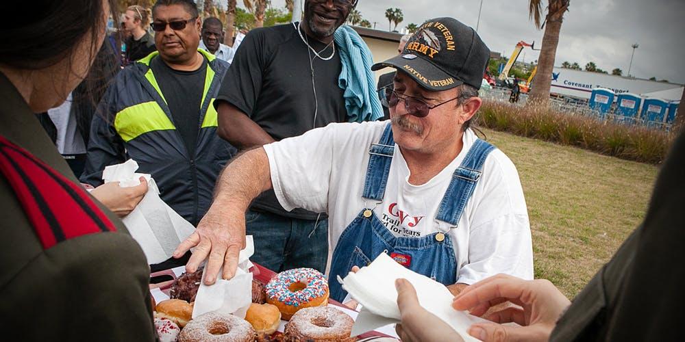 Veteran reaching for donuts