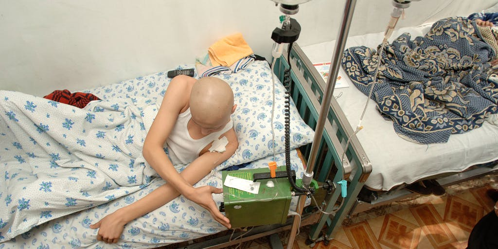 Terminally Ill patient in bed