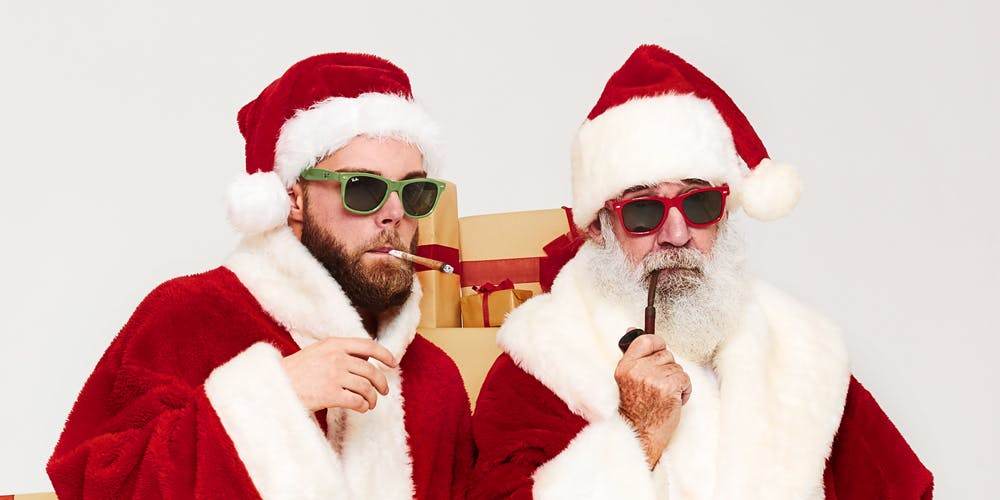 Santa and man smoking cannabis