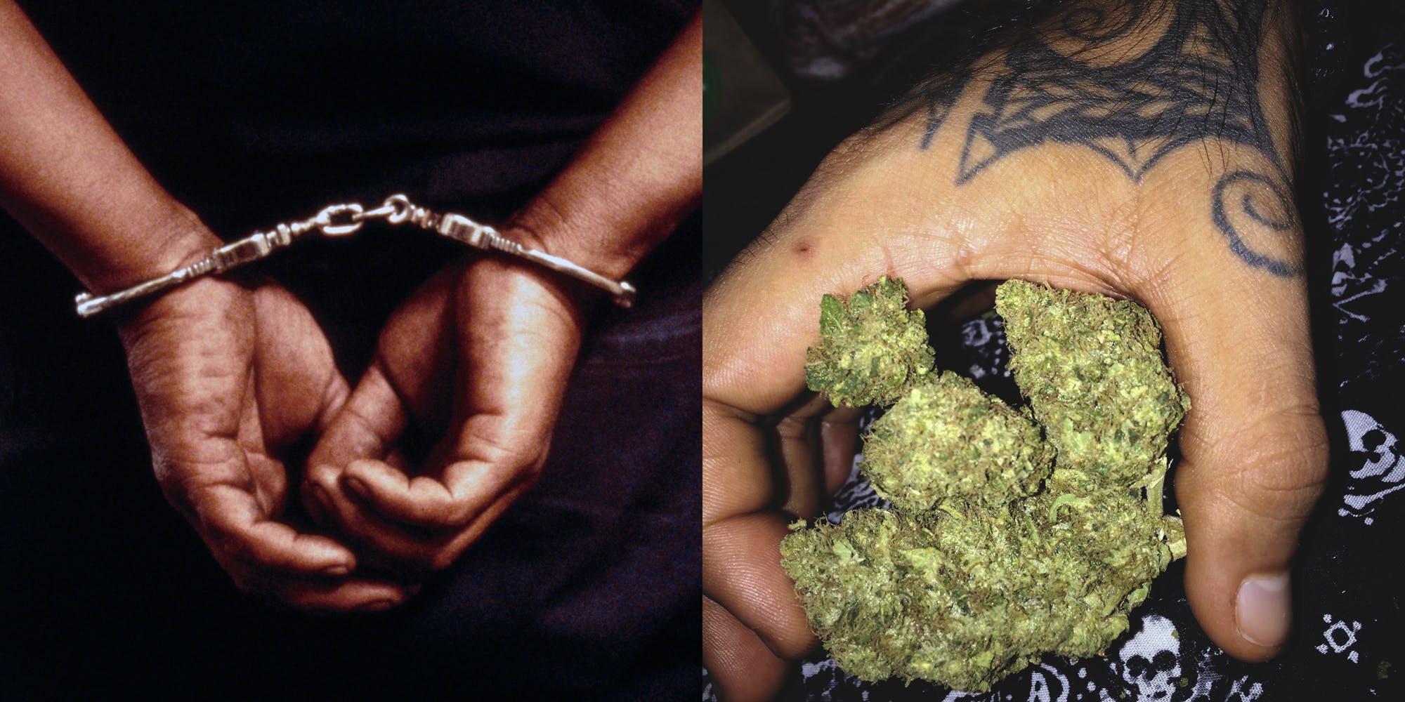 Tattooed Hand of schizophrenic murderer Holding Marijuana At Home
