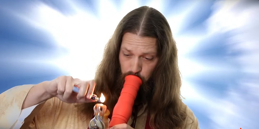 Jesus taking a bong toke