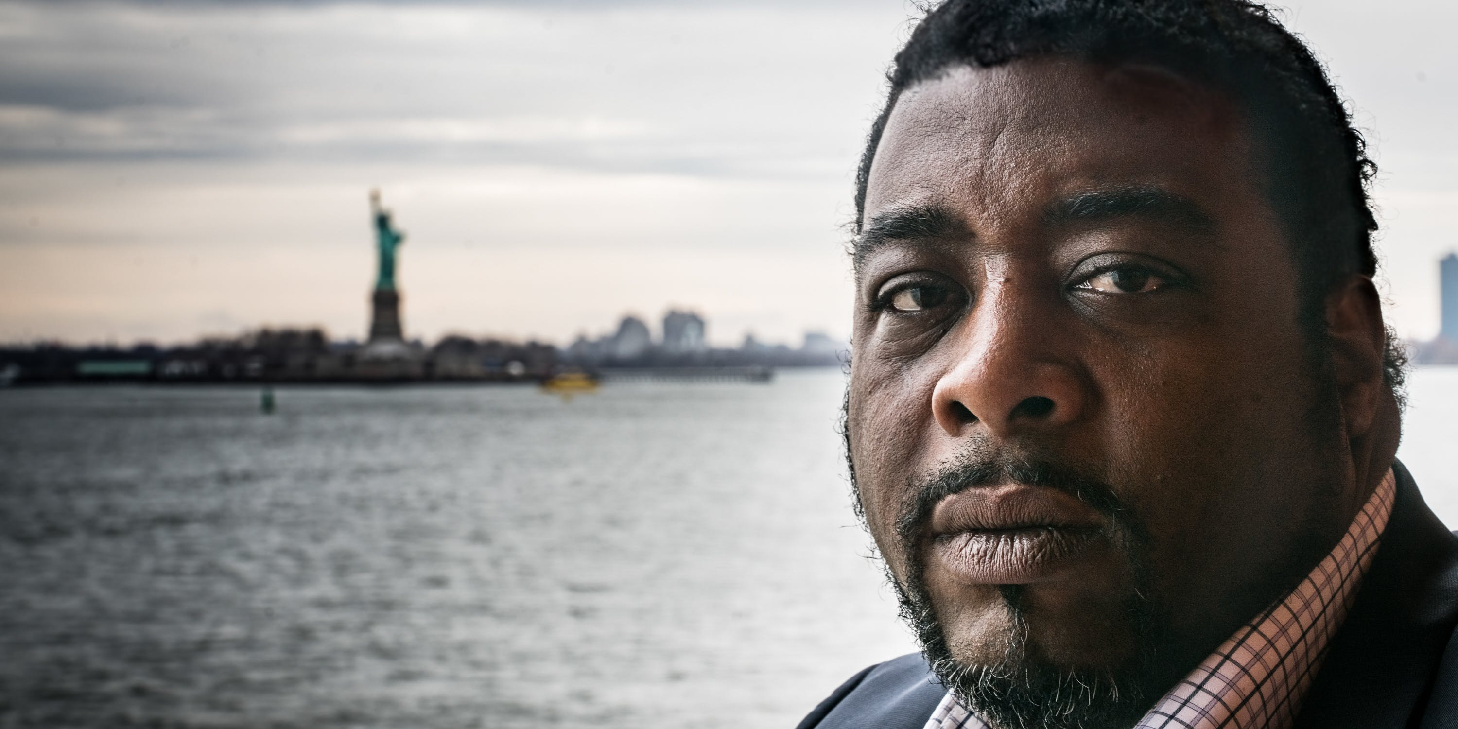 Leo Bridgewater sits on the Staten Island Ferry in Newyork as he travels to meed the Cannabis Cultural Association about the upcoming lawsuit with Jeff Sessions