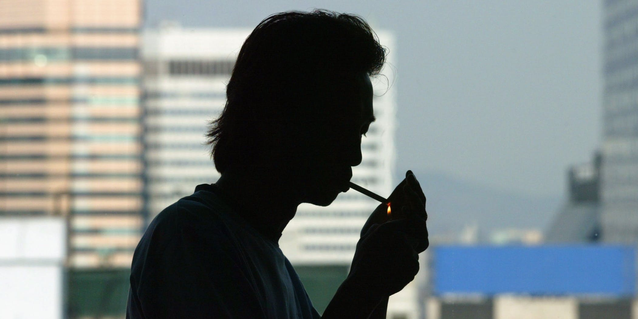 South Korean Man lights up a marijuana joint
