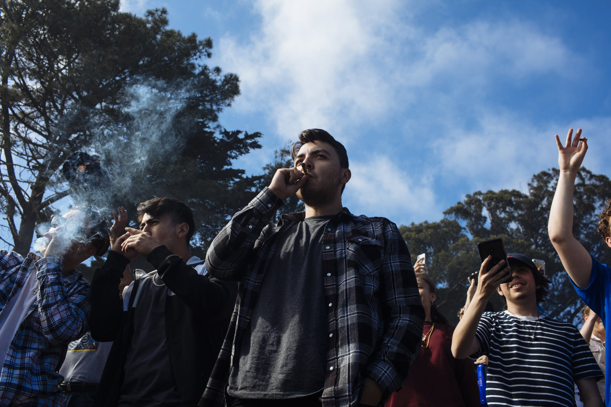man smokes joint at The Origin place of 420