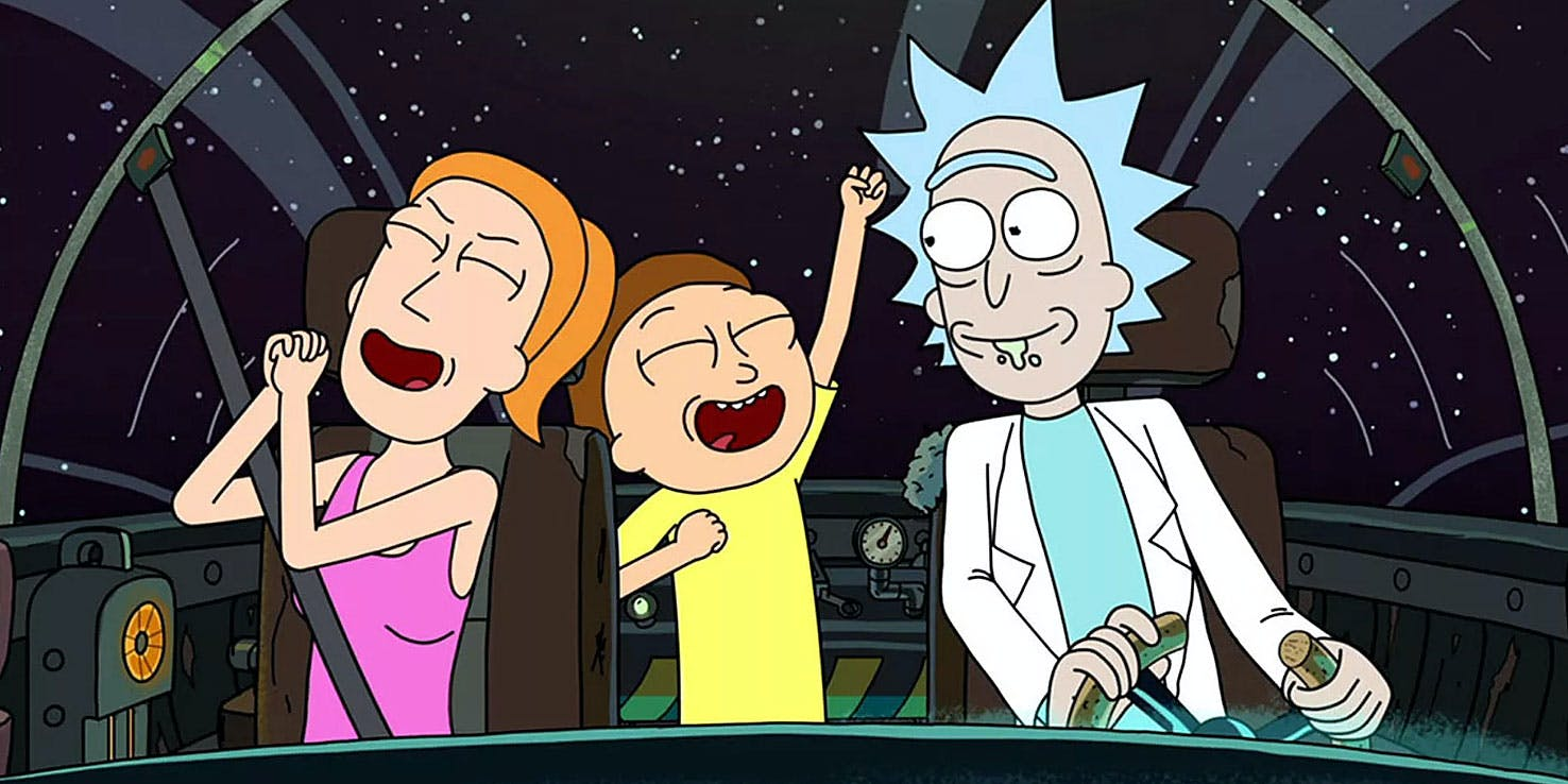 Rick, Morty and summer celebrating 70 new episodes in a space ship