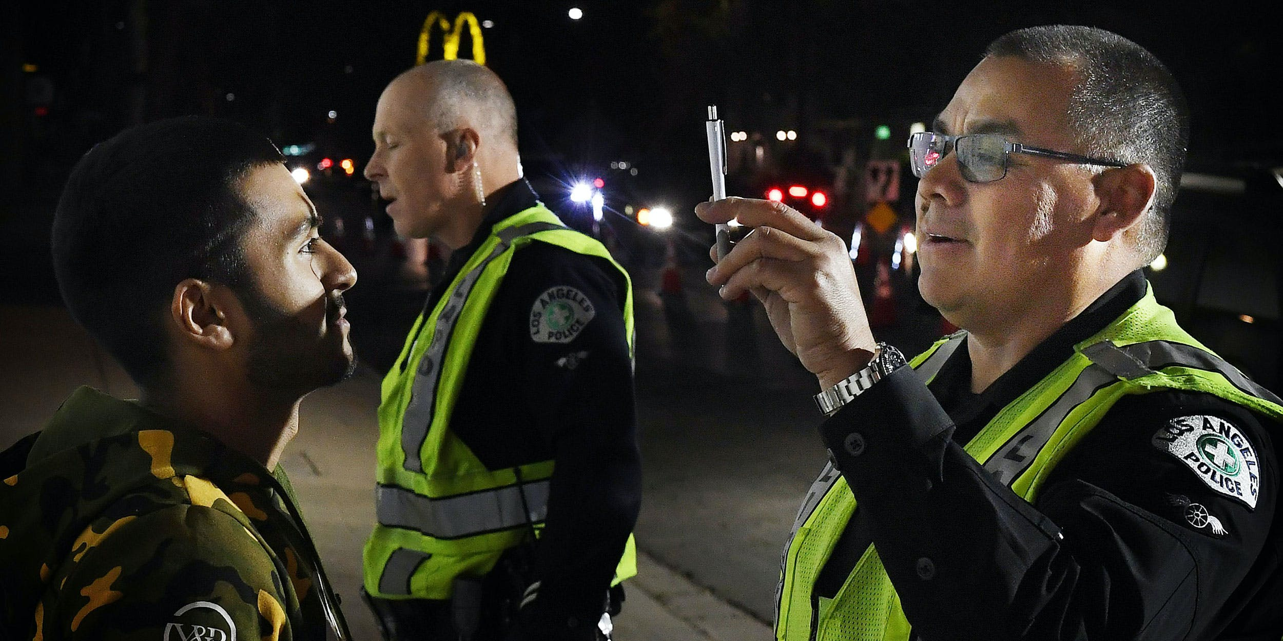 LAPD conduct an impaired driving test