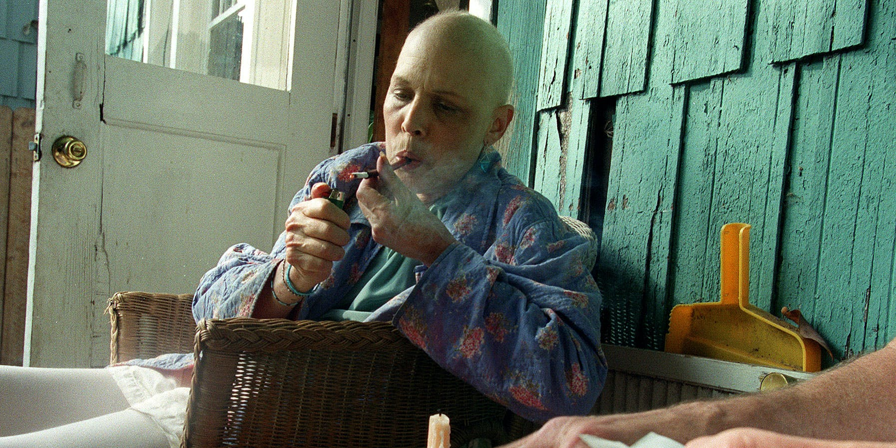 Woman with ovarian cancer smoking cannabis