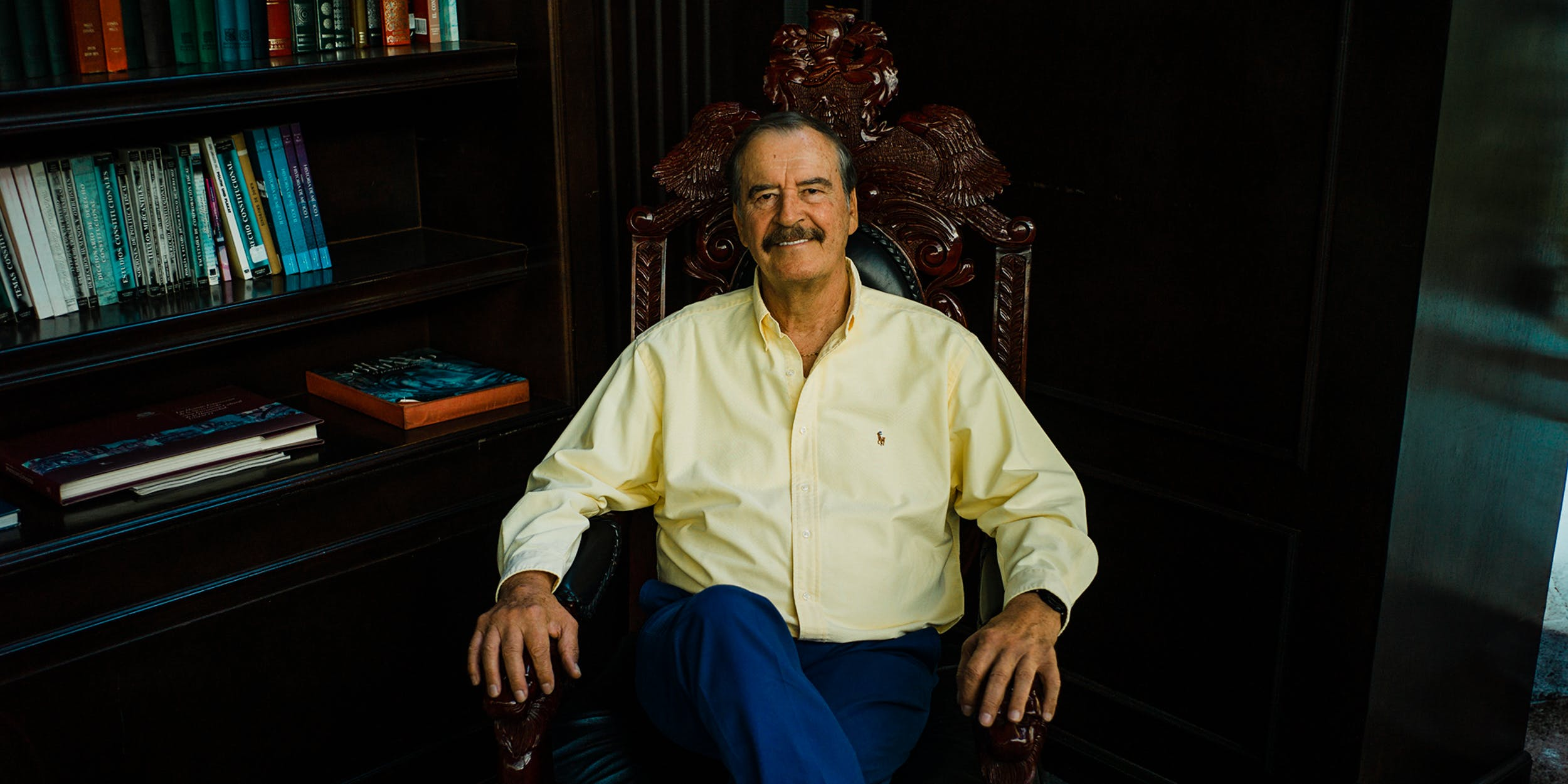 Former president of Mexico Vicente Fox explains why he thinks marijuana should be legal in Mexico. Here, he is seen at his educational center called Centro Fox in his replica presidential office in Guanajuato, Mexico. (Photo by Scott Brennan for Herb)