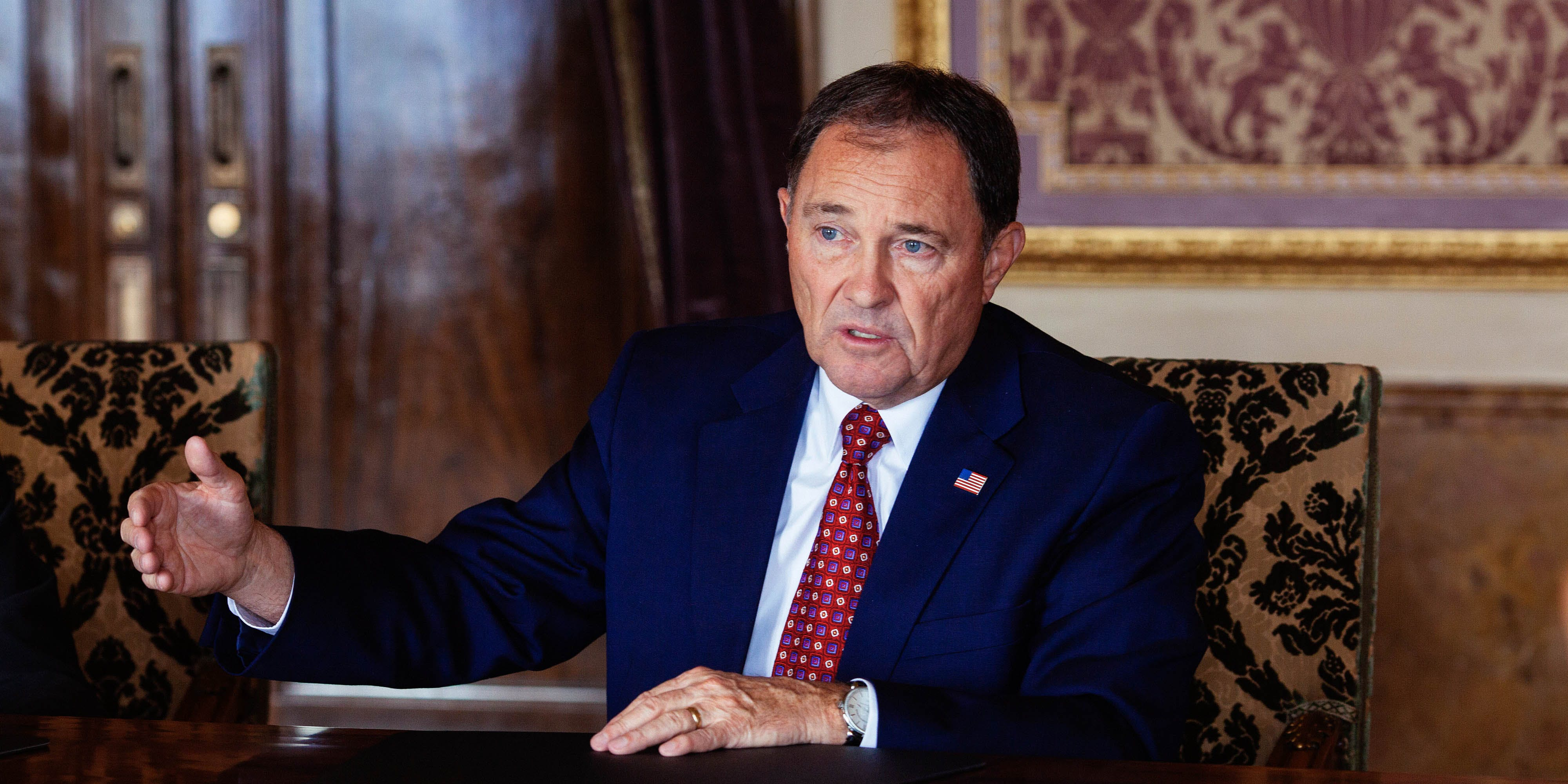 Gary Herbert, governor of Utah, speaks during an interview in the Gold Room of the State Capitol building in Salt Lake City, Utah, U.S., on Tuesday, Oct. 27, 2015. (Photo by Cayve Clifford/Bloomberg via Getty Images)