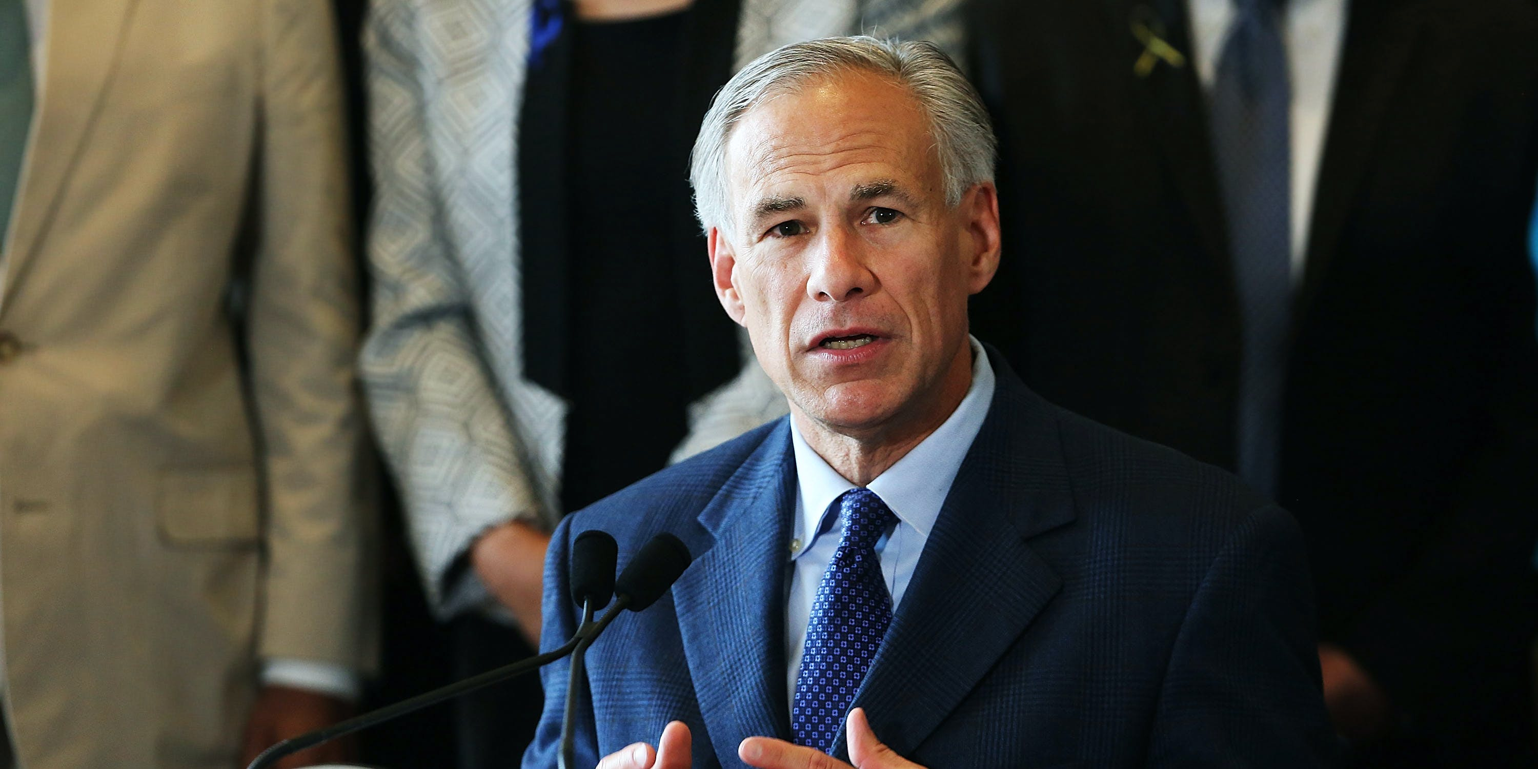 Texas Governor Greg Abbott speaks at Dallas's City Hall on July 8, 2016 in Dallas, Texas