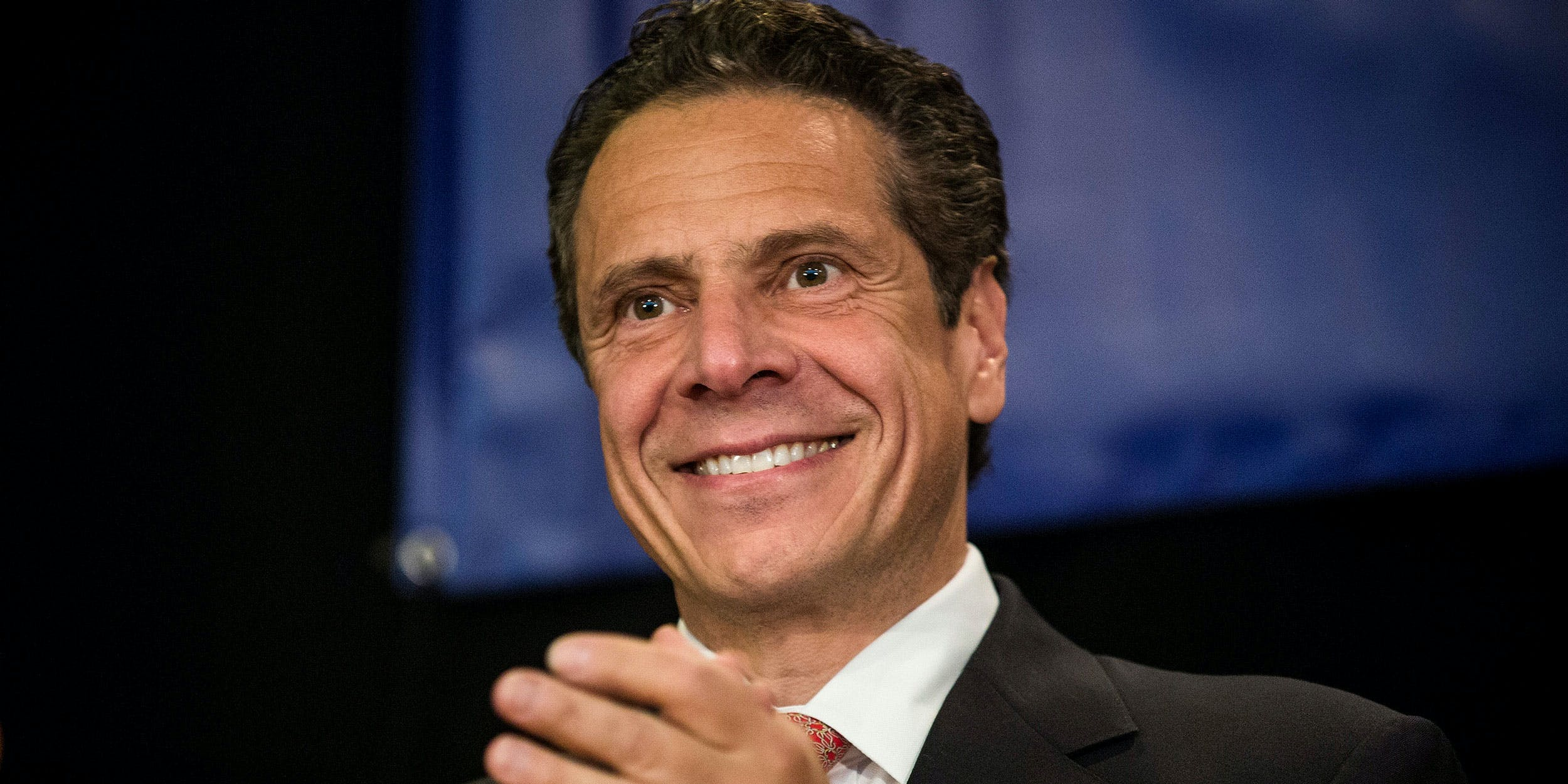 Governor Andrew Cuomo speaks to a crowd during a reelection campaign event in 2014. Cuomo, who once called marijuana a gateway drug, has recently received donations of nearly $100,000 from two of the state's largest medical cannabis companies during his 2018 campaign.