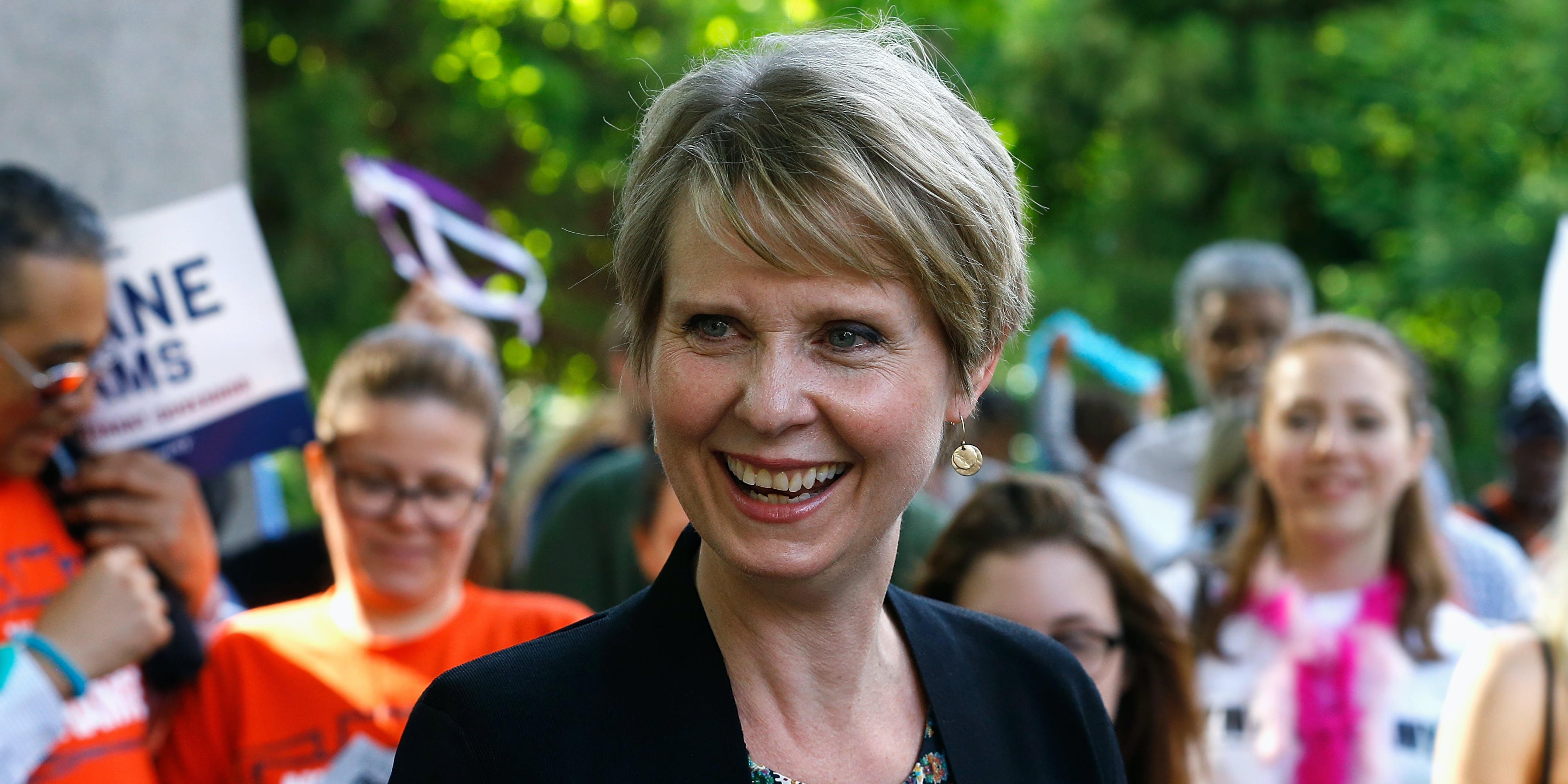 NEW YORK, NY - JUNE 05: Cynthia Nixon greets New Yorkers during the petitioning parade for New York State Governor at Union Square Park on June 5, 2018 in New York City. (Photo by John Lamparski/Getty Images)