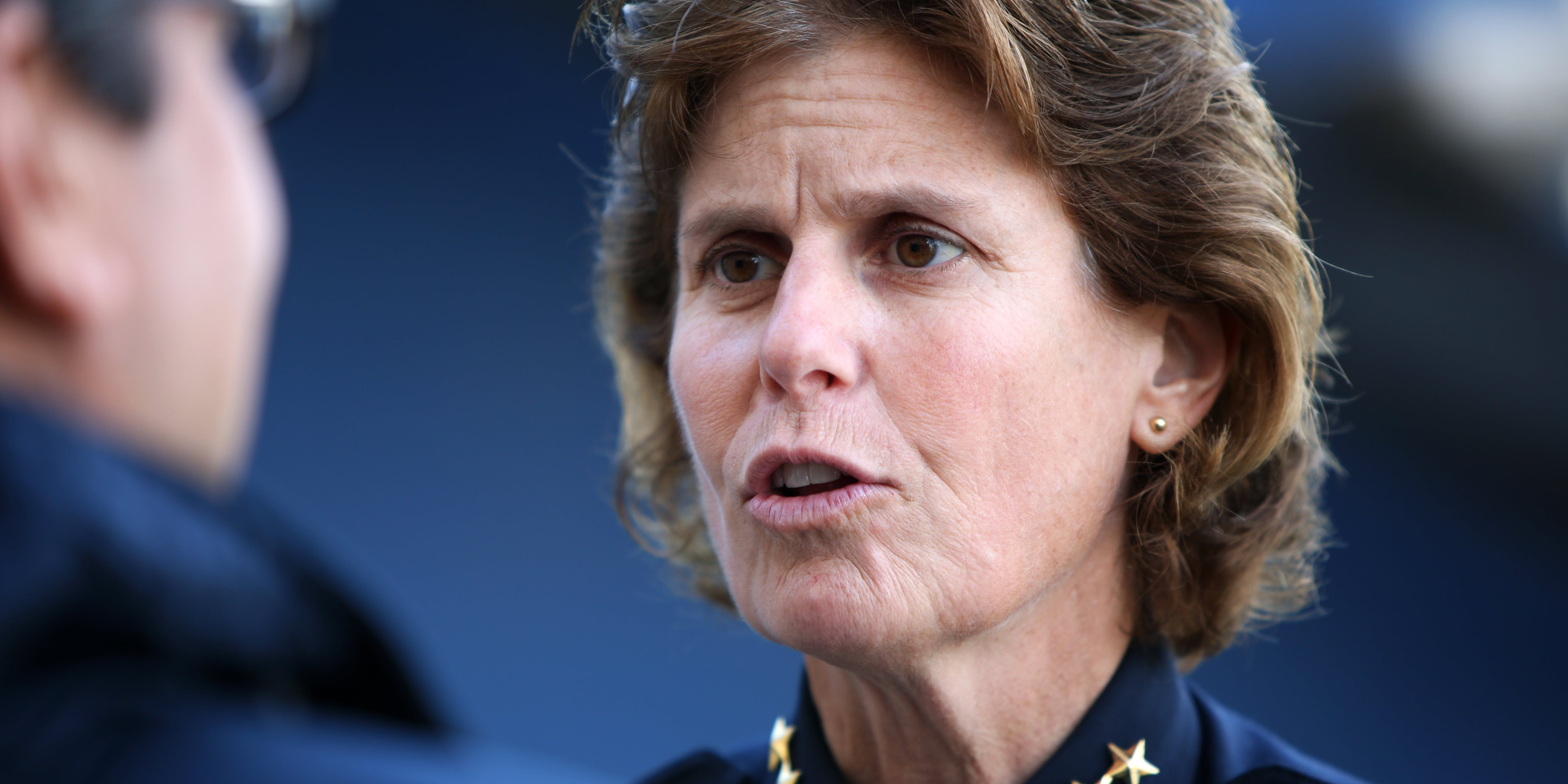 SAN DIEGO, CA, DECEMBER 20, 2014 -- Police Chief Shelley Zimmerman interacts with community at the YMCA in San Diego. (Photo by Irfan Khan/Los Angeles Times via Getty Images)