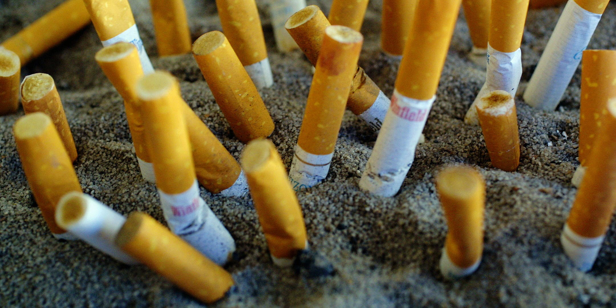 Cigarettes that have been put out in sand after quitting with the help of CBD oil