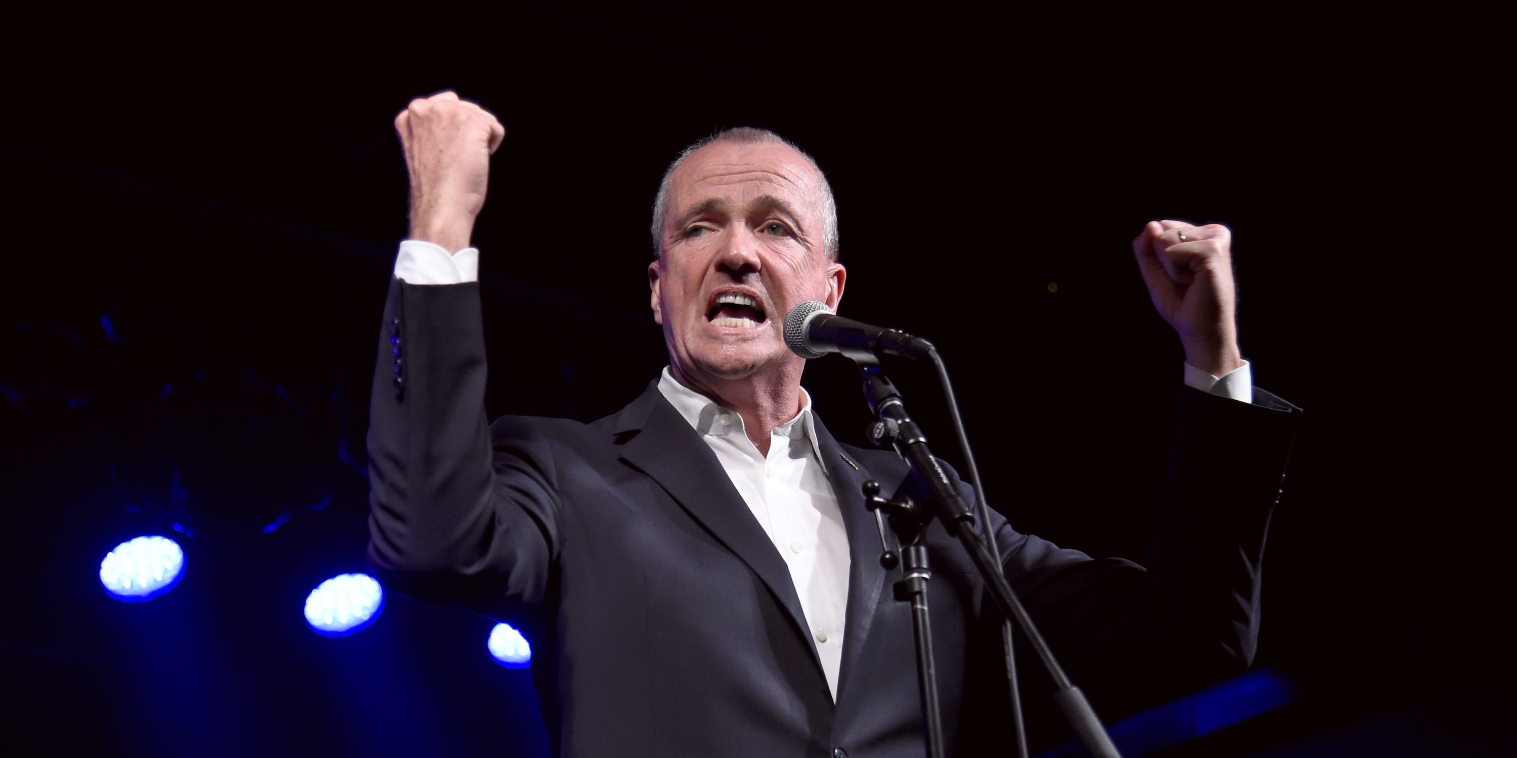 ASBURY PARK, NJ - JUNE 18: Governor of New Jersey Phil Murphy speaks onstage during the Grand Re-Opening of Asbury Lanes at Asbury Lanes on June 18, 2018 in Asbury Park, New Jersey. Murphy has been a vocal advocate of recreational marijuana legalization. His Attorney General recently ordered a stay on marijuana prosecutions until September.