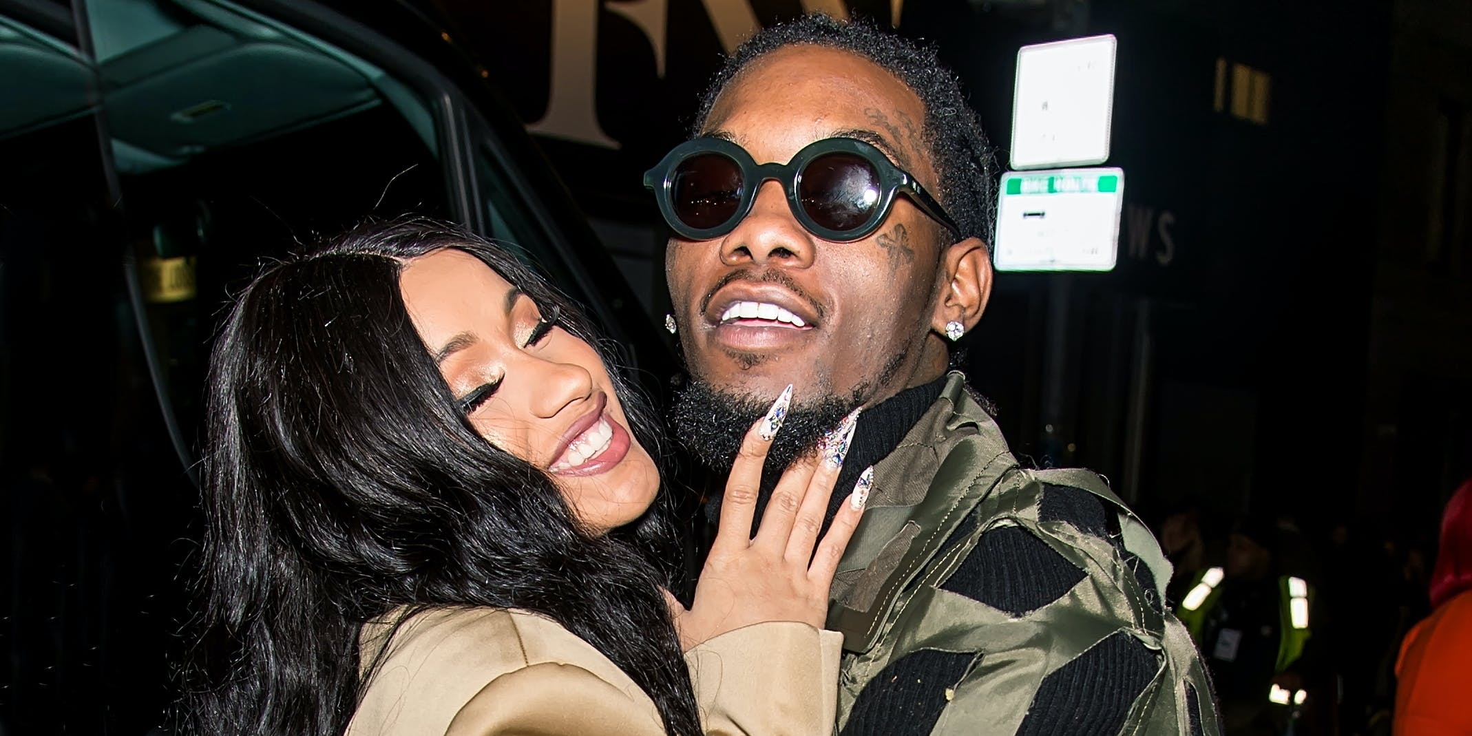 NEW YORK, NY - FEBRUARY 11: Recording artists Cardi B and Offset of the group Migos are seen leaving Prabal Gurung fashion show during New York Fashion Week at Spring Studios on February 11, 2018 in New York City. (Photo by Gilbert Carrasquillo/GC Images)