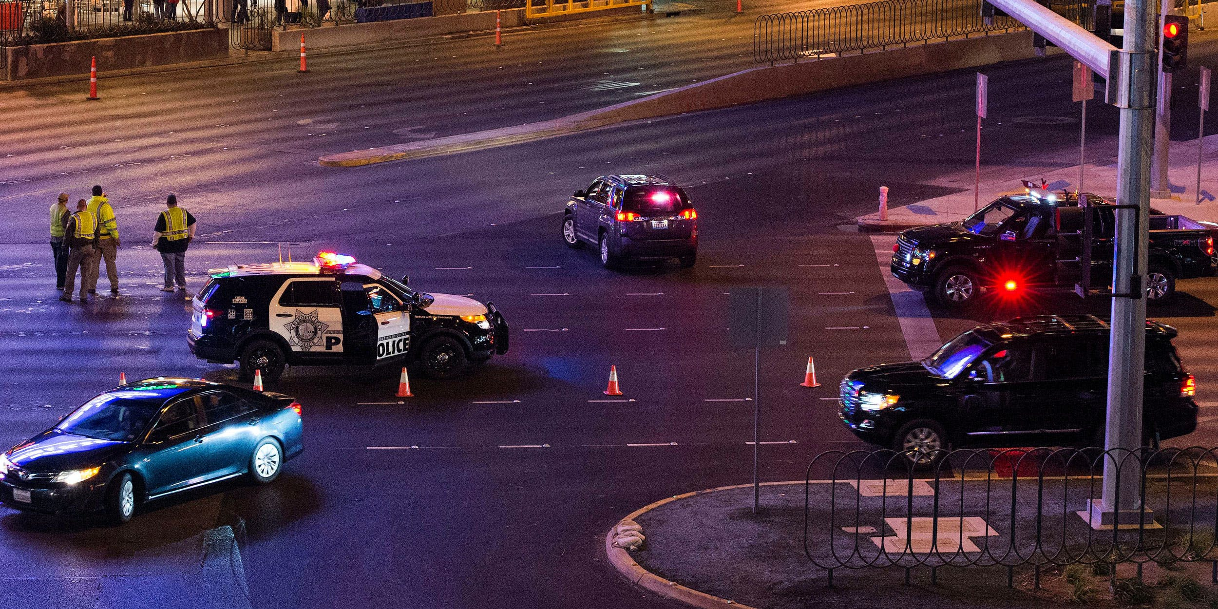 Las Vegas Police and local authorities look over the strip. A dispensary robbery took place last week in Vegas.