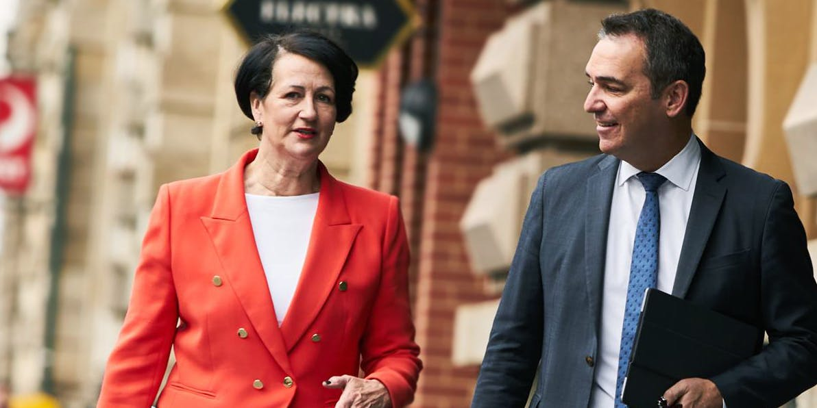 South Australia Attornery General Vickie Champan (left), and Premier of South Australia, Steven Marshall.