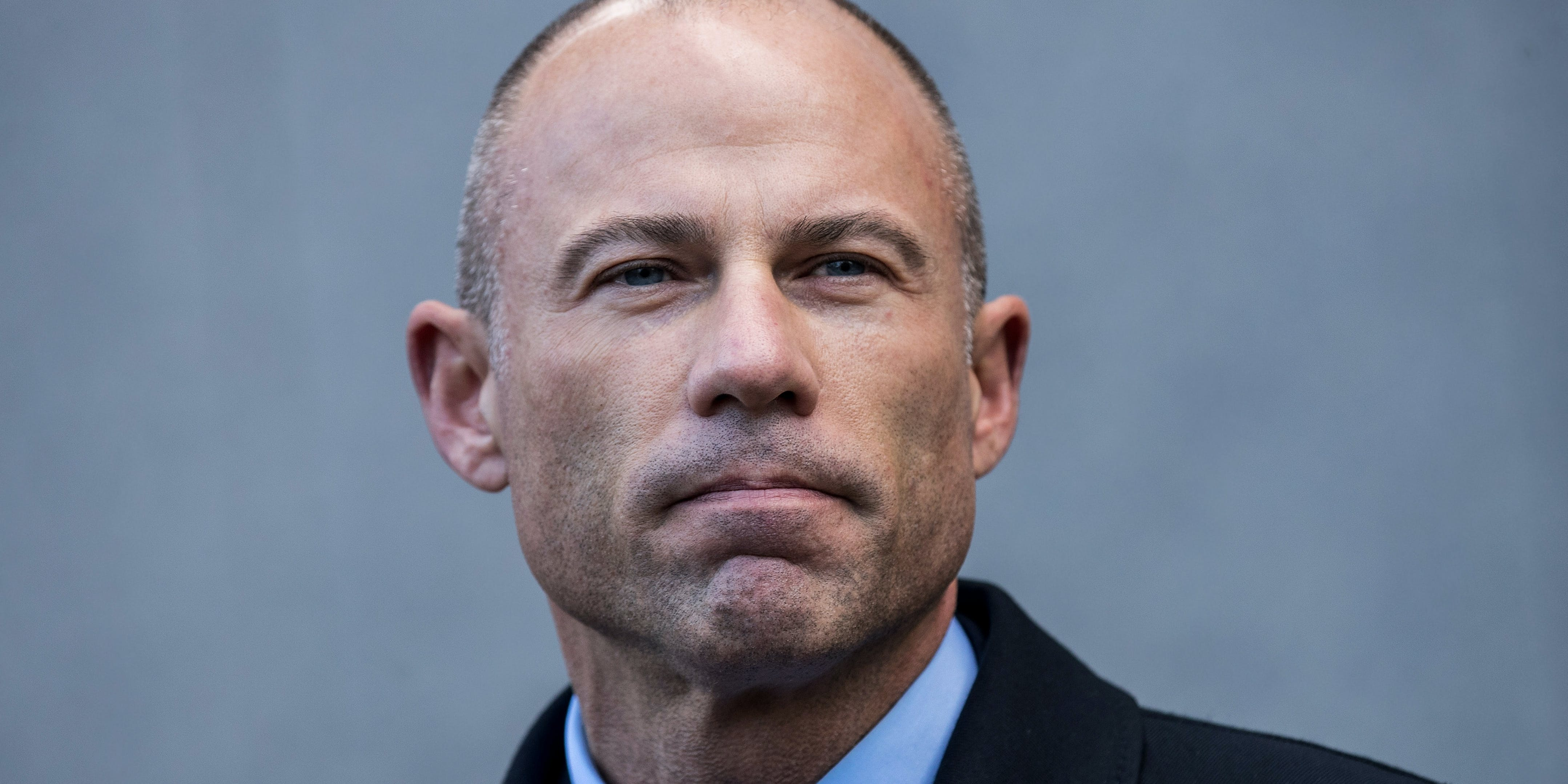 NEW YORK, NY - APRIL 16: Michael Avenatti, attorney for Stormy Daniels, speaks to reporters as he exits the United States District Court Southern District of New York for a hearing related to Michael Cohen, President Trump's longtime personal attorney and confidante, April 16, 2018 in New York City. (Photo by Drew Angerer/Getty Images)