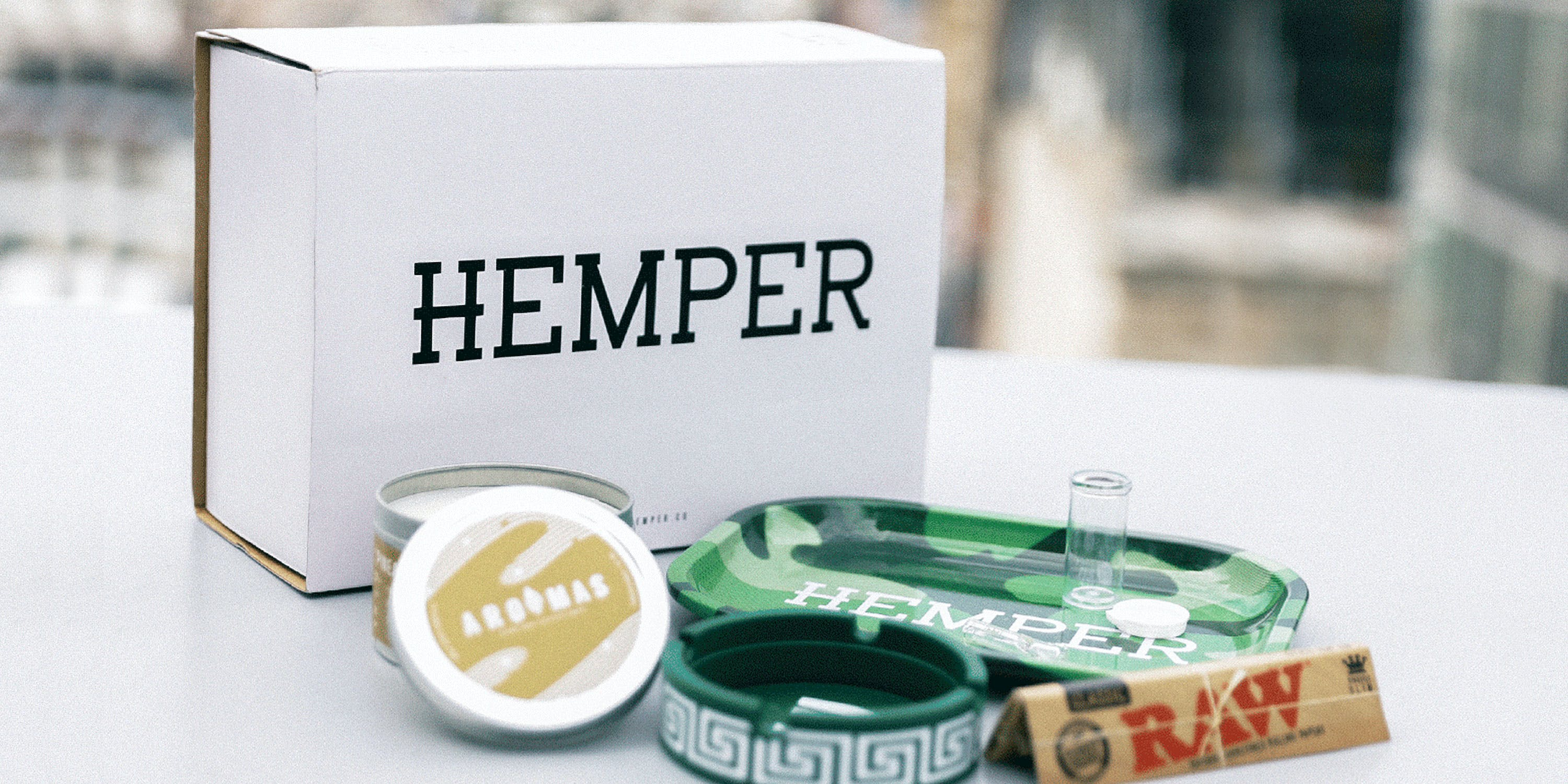 A photo of the contents of Hemper, a subscription box for weed products