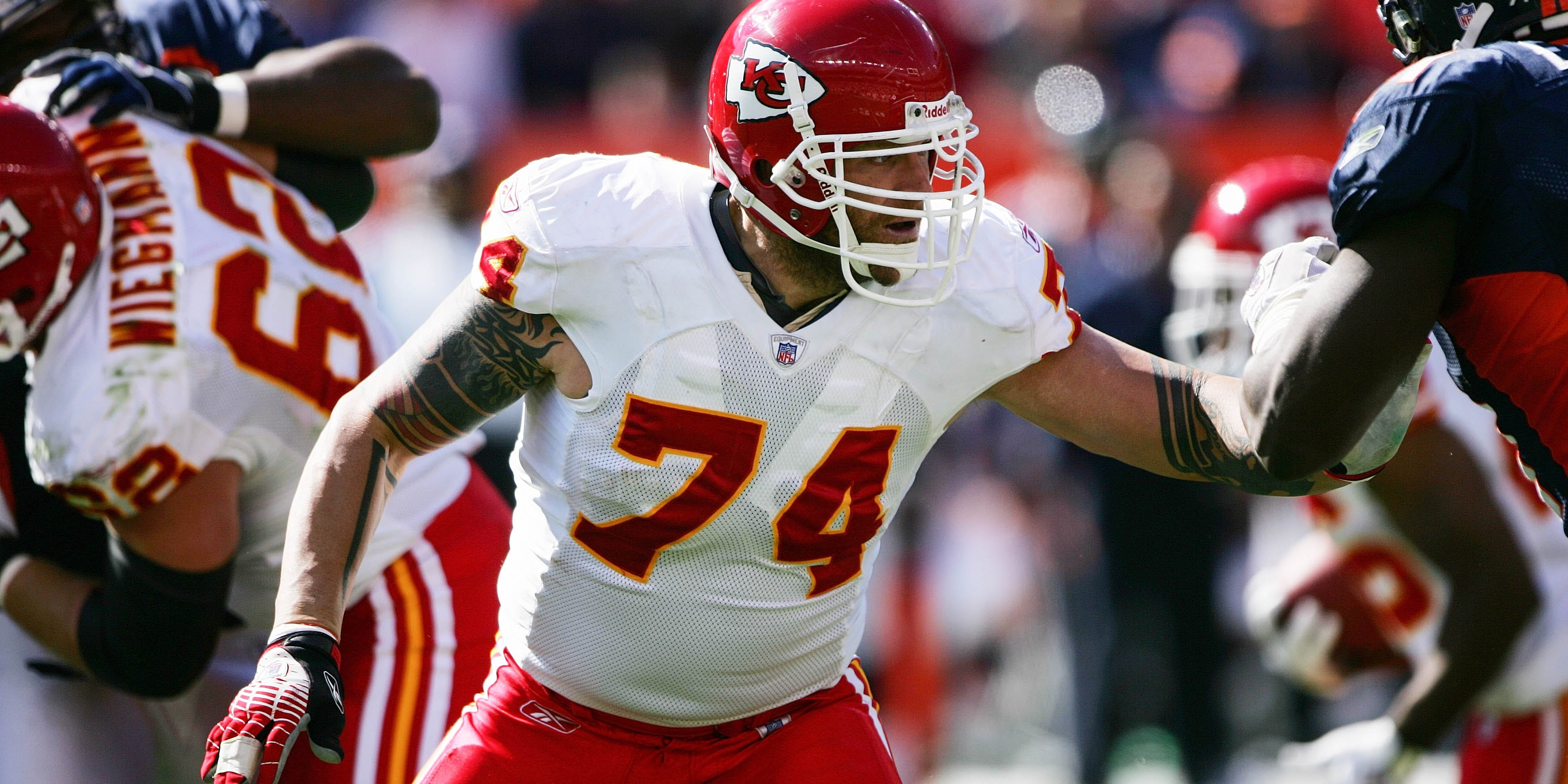 DENVER - SEPTEMBER 17: Offensive tackle Kyle Turley, #74 of the Kansas City Chiefs, blocks during the game against the Denver Broncos at INVESCO Field at Mile High on September 17, 2006 in Denver, Colorado. Turley is now retired from the NFL and an advocate for CBD for CTE, a condition which severely disrupts the lives of many former athletes. (Photo by Doug Pensinger via Getty Images)