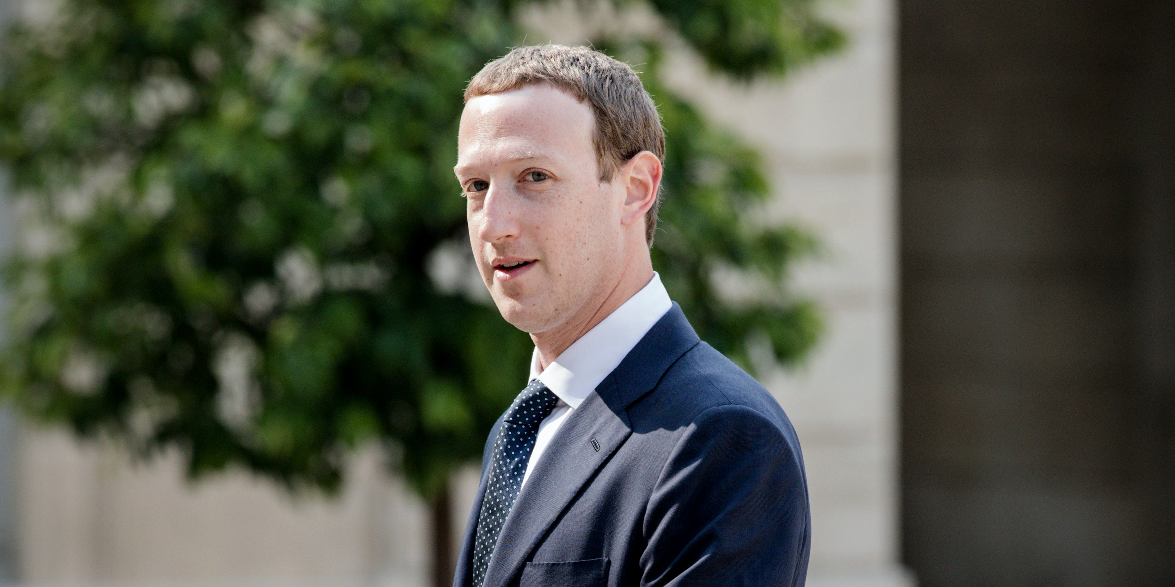 Facebook CEO Mark Zuckerberg heads for a meeting with the French President. Facebook is accused of shadow banning cannabis companies, essentially impacting their business by making them impossible to find on the social media site.