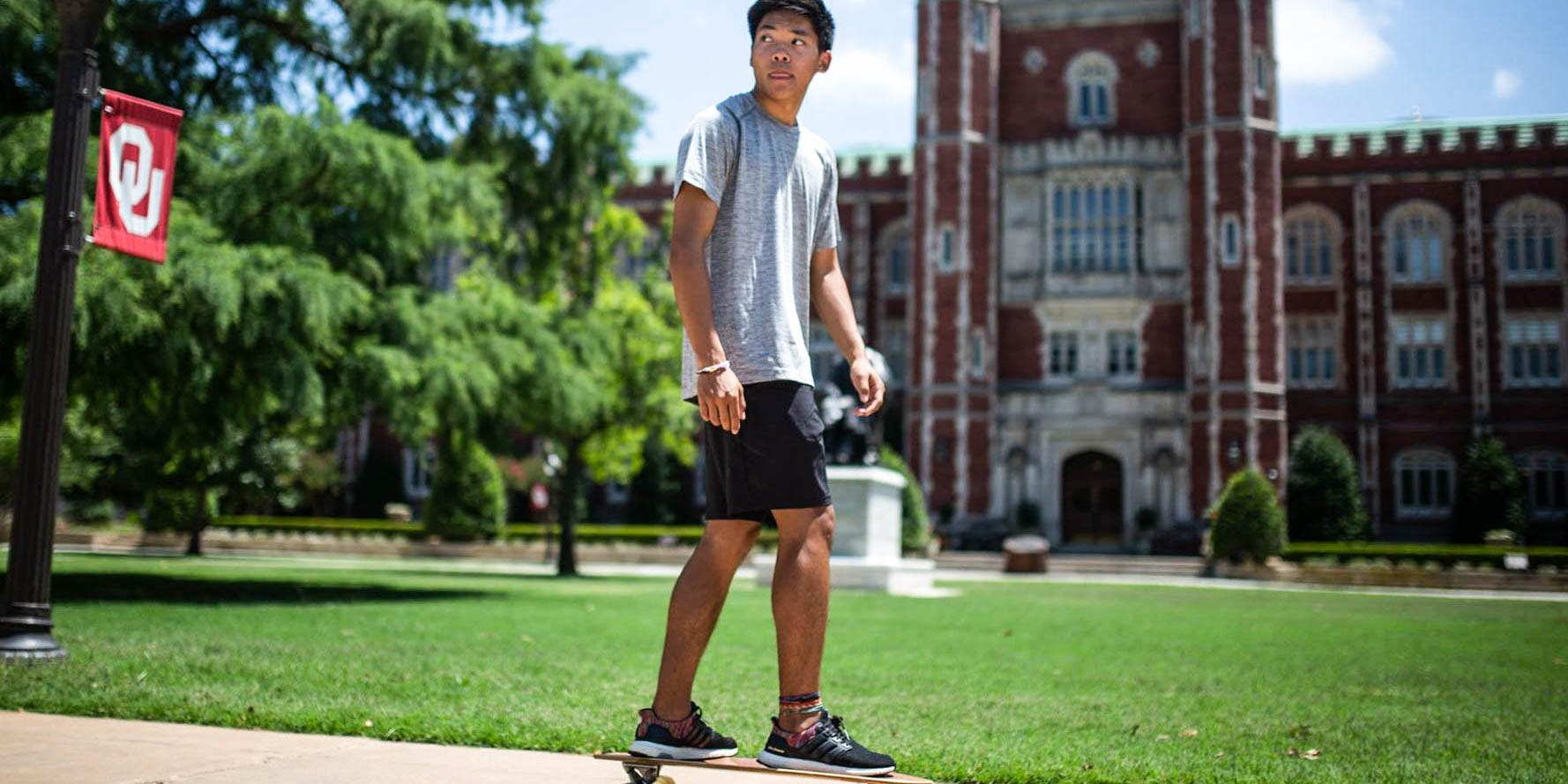 Oklahoma's Biggest Universities Ban Medical Marijuana Use. Here , a student is shown skateboarding on campus at the University of Oklahoma.