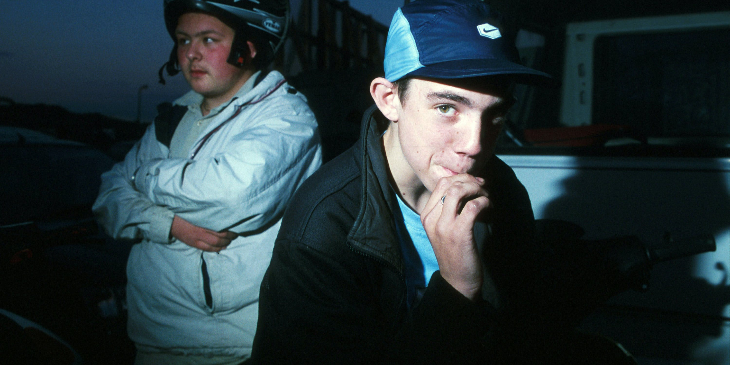 A teenage scooter boy smoking a spliff in Luton, UK in 2004. A new report found teens buy weed more easily than alcohol in the UK.