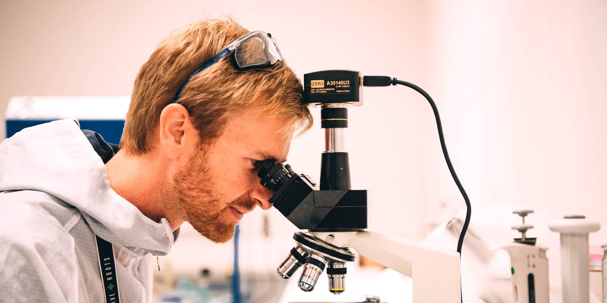 A man looks through a microscope. Scientists confirm cannabis has been helping society for 10,000 years.
