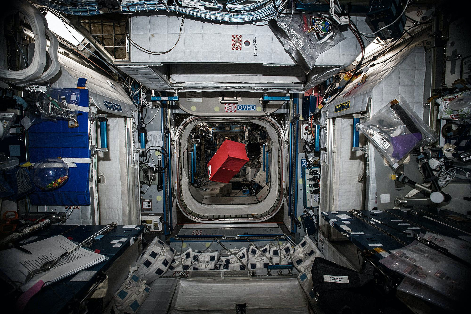 Space Tango CubeLab floating inside the International Space Station before installation in the TangoLab facility.