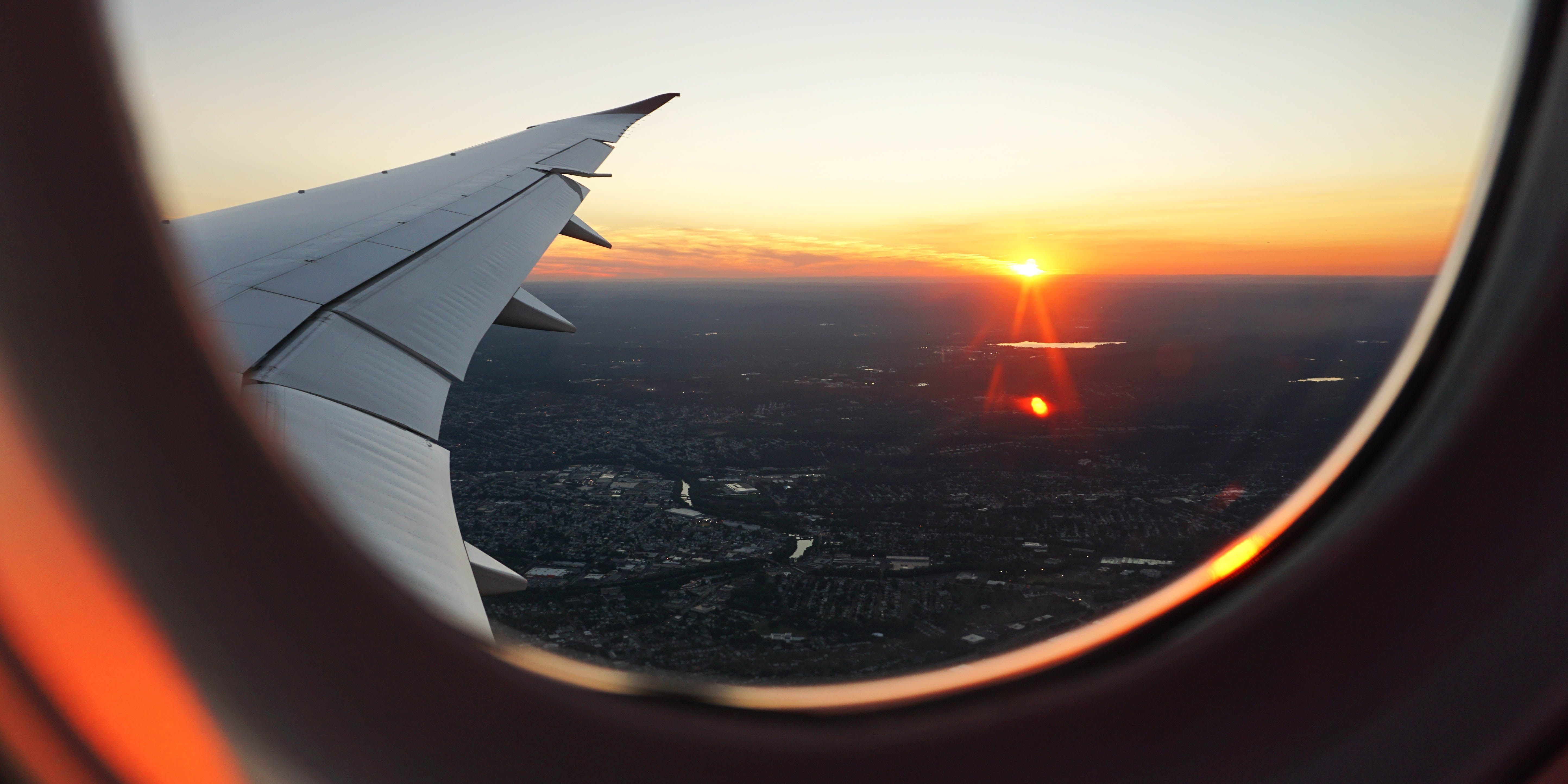 View from the window of an airplane. As of October 17, travellers can bring cannabis on domestic flights in Canada.