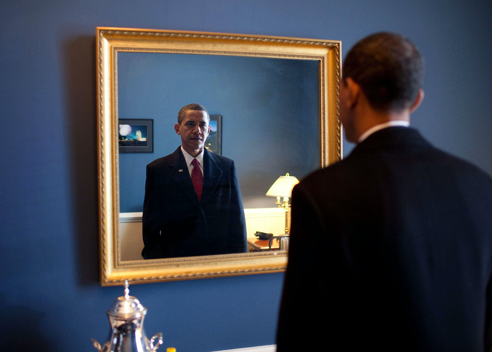 Barack Obama takes one last look in the mirror before going out to take oath Jan. 20 2009 The Best Weed Quotes by Famous People Throughout History