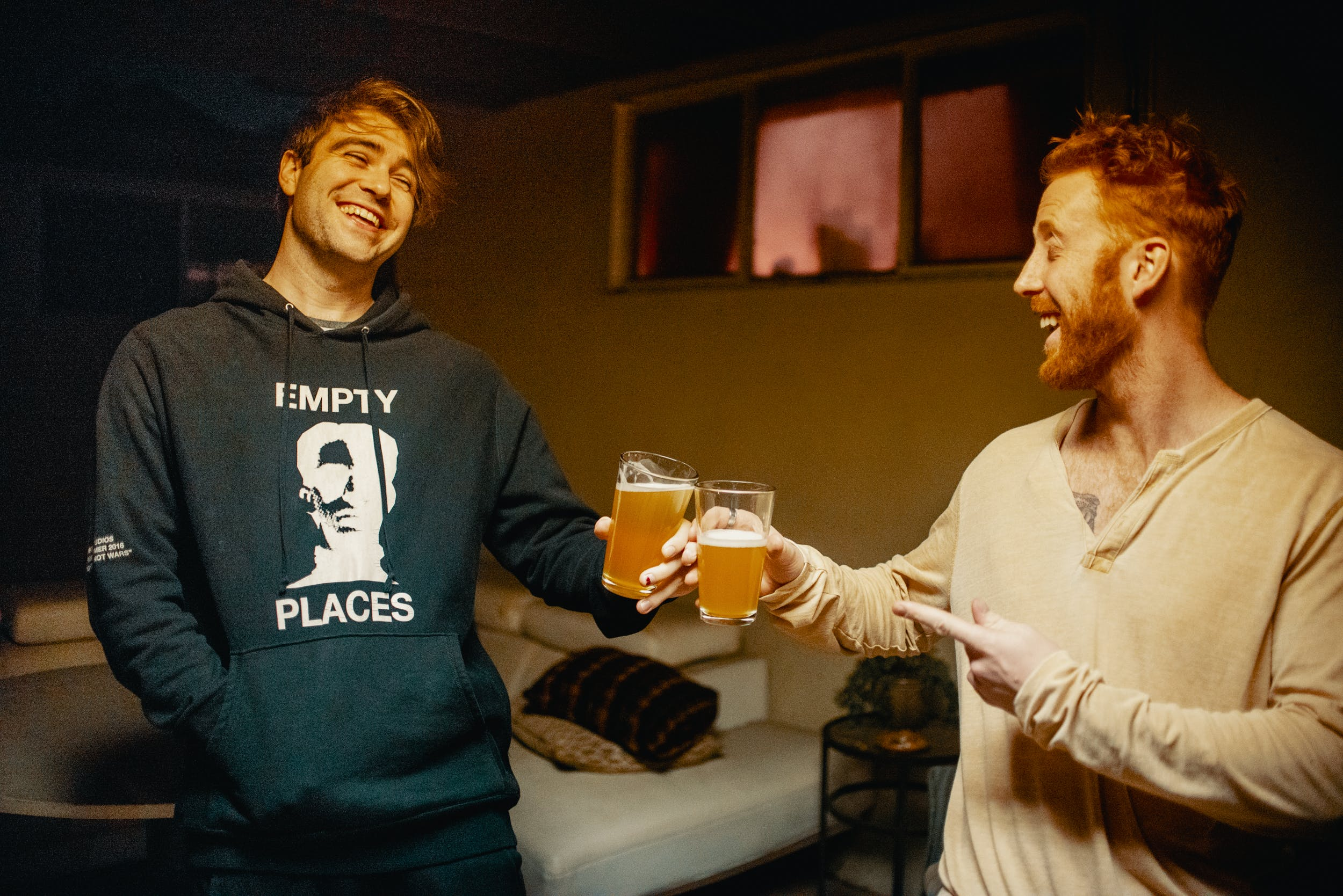 Two men enjoy some of the best weed beer