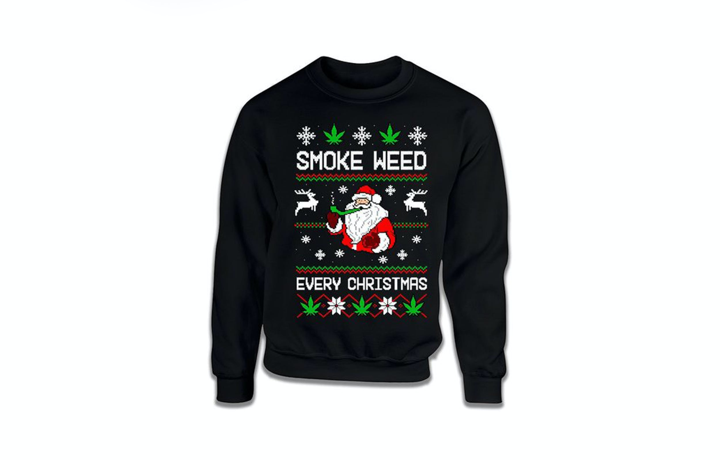 A weed Christmas sweater is perfect for ugly Christmas sweater parties